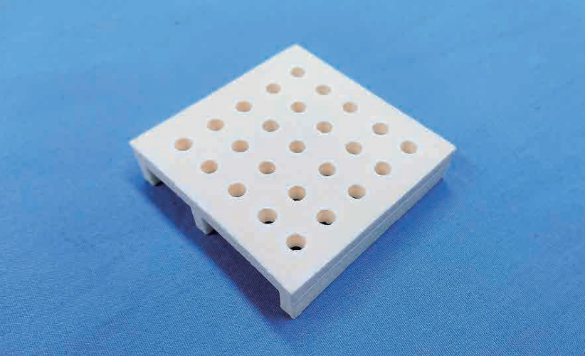 Picture of 3D printed ceramic jig for sintering process