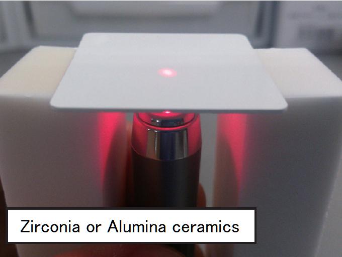 Picture of zirconia or alumina ceramics exposed to laser light